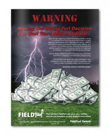FieldTurf advertisement warning about wasting money